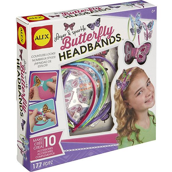 Купить 601000 Набор для создания ободков Блестящие бабочки , от 8 лет, ALEX, США, Унисекс