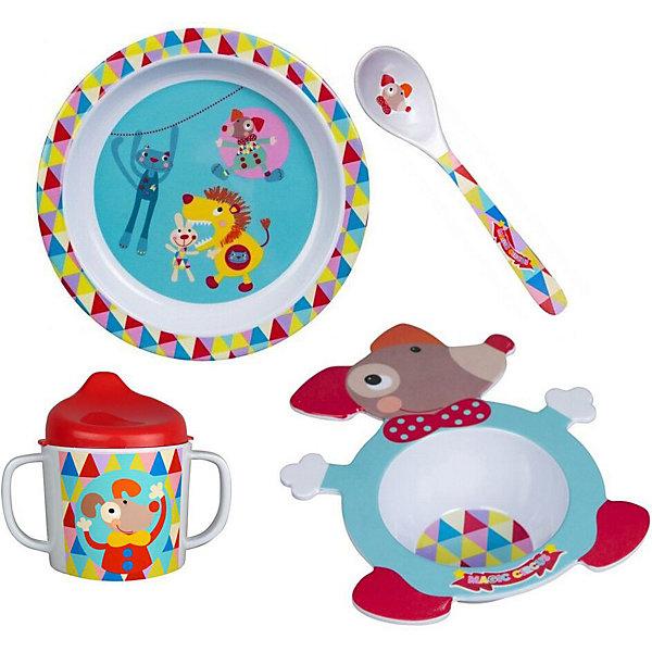 Набор посуды Ebulobo Волшебный цирк, 4 предметаДетская посуда<br>Характеристики:<br><br>• в наборе: поильник 250 мл, миска 200 мл, тарелка 400 мл, ложечка 10 мл<br>• страна бренда: Франция<br><br>Красочный набор детской посуды оформлен рисунками одной тематики. Фигурная миска выполнена в виде собачки. На дне есть красочный рисунок, который вызывает интерес у ребенка и стимулирует его съесть всю порцию. Благодаря форме малыш сам может придерживать миску, держась за края. Тарелка подходит для жидких и твердых блюд. Поильник оснащен двумя удобными ручками и маленькими отверстиями для жидкости, чтобы исключить проливания. Сделано из качественных материалов.