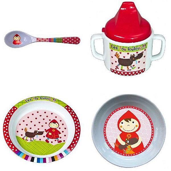 Набор посуды Ebulobo Красная шапочка, 4 предметаДетская посуда<br>Характеристики:<br><br>• в наборе: поильник 250 мл, миска 200 мл, тарелка 400 мл, ложечка 10 мл<br>• страна бренда: Франция<br><br>Красочный набор детской посуды оформлен рисунками одной тематики. Фигурная миска выполнена в виде девочки. На дне есть красочный рисунок, который вызывает интерес у ребенка и стимулирует его съесть всю порцию. Благодаря форме малыш сам может придерживать миску, держась за края. Тарелка подходит для жидких и твердых блюд. Поильник оснащен двумя удобными ручками и маленькими отверстиями для жидкости, чтобы исключить проливания. Сделано из качественных материалов.