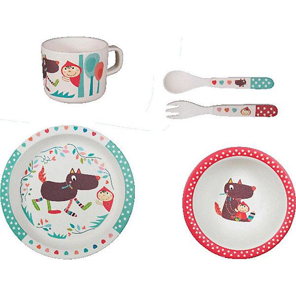 Купить Набор бамбуковой посуды Ebulobo Волчонок , 5 предметов, Франция, разноцветный, Унисекс