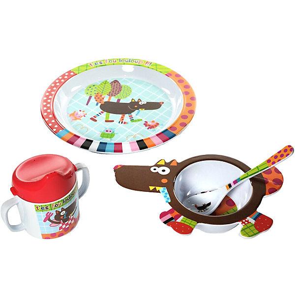 Купить Набор посуды Ebulobo Волчонок , 4 предмета, Франция, разноцветный, Унисекс