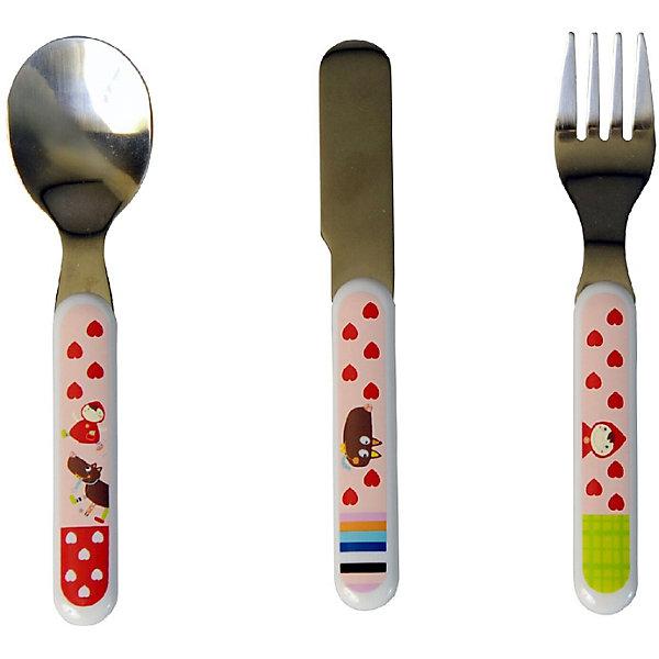 Набор столовых приборов Ebulobo Красная шапочкаДетская посуда<br>Характеристики:<br><br>• в наборе: вилка, ложка, нож<br>• страна бренда: Франция<br><br>Столовые приборы оснащены красочными удобными рукоятками. Набор подходит для бережного кормления малыша. При самостоятельном использовании ребенок тренирует навыки обращения с приборами. Сделано из качественных материалов.