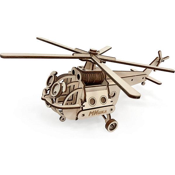 Подвижная сборная модель Lemmo Вертолет МИшкаДеревянные конструкторы<br>Характеристики:<br><br>• материал: дерево<br>• в комплекте: детали вертолета, клей ПВА, наждачная бумага, инструкция<br>• количество деталей: 56<br>• размер модели: 27х21х11 см<br>• страна бренда: Россия<br><br>Вертолет с вращающимися винтами и колесами, открывающимися дверями порадует не только увлекательной сборкой, но и игрой. Легкая сборка. Изготовлена из экологически чистых и безопасных материалов.