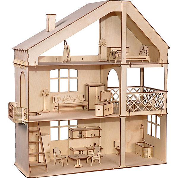 Кукольный дом ХэппиДом Гранд коттедж с верандой и мебельюДомики для кукол<br>Характеристики:<br><br>• материал: дерево<br>• в комплекте: дом, кровать, зеркало, комод, торшер, диван, шкаф с вешалками, тумба под ТВ, телевизор, стол и стулья для веранды, балкон, холодильник, стол и стулья для кухни, кухонный гарнитур с умывальником и полочками, унитаз, ванна с душем, клей ПВА, наждачная бумага, инструкция<br>• размер собранной модели: 62х68х24 см<br>• страна бренда: Россия<br><br>Большой красочный домик с множеством аксессуаров станет отличным жилищем для маленьких кукол. В комплекте есть все для увлекательной игры. Интерьер домика можно дополнить, раскрасив стены и мебель. Все элементы увеличенного размера, что делает сборку легкой и увлекательной. Изготовлен из экологически чистых и безопасных материалов.