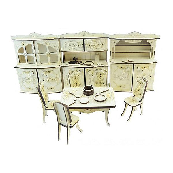 Набор мебели Lemmo КухняДеревянные модели<br>Характеристики:<br><br>• материал: дерево<br>• в комплекте: 3 шкафа, стол, 4 стула, клей ПВА, наждачная бумага, сковородка, кастрюля, тарелки, ложки и разделочные доски, инструкция<br>• количество деталей: 128<br>• размер шкафа: 21х16х7 см<br>• размер стола: 7х14х10 см<br>• размер стула: 11х4х6 см<br>• страна бренда: Россия<br><br>Набор мебели и аксессуаров станет отличным дополнением для кукольного домика, придаст ему уют и очарование. Все элементы увеличенного размера, что делает сборку легкой и увлекательной. Изготовлен из экологически чистых и безопасных материалов.