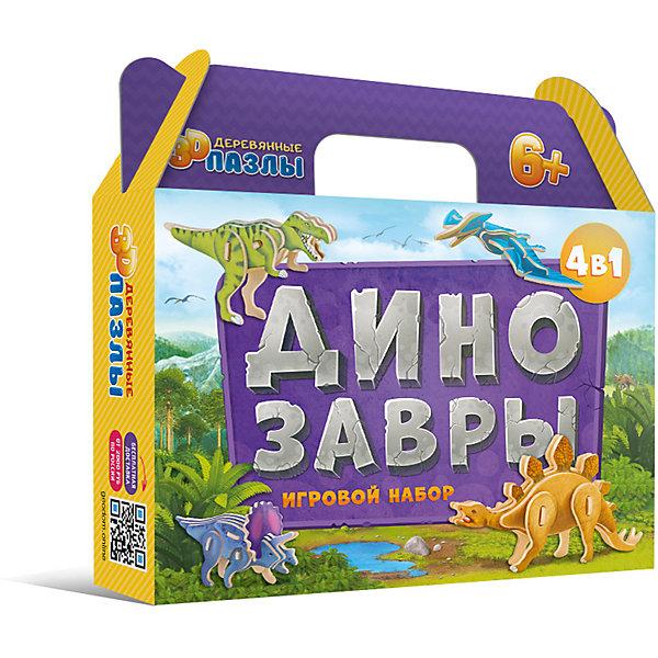 ГеоДом Комплект 3D пазлов 4в1 Геодом Динозавры