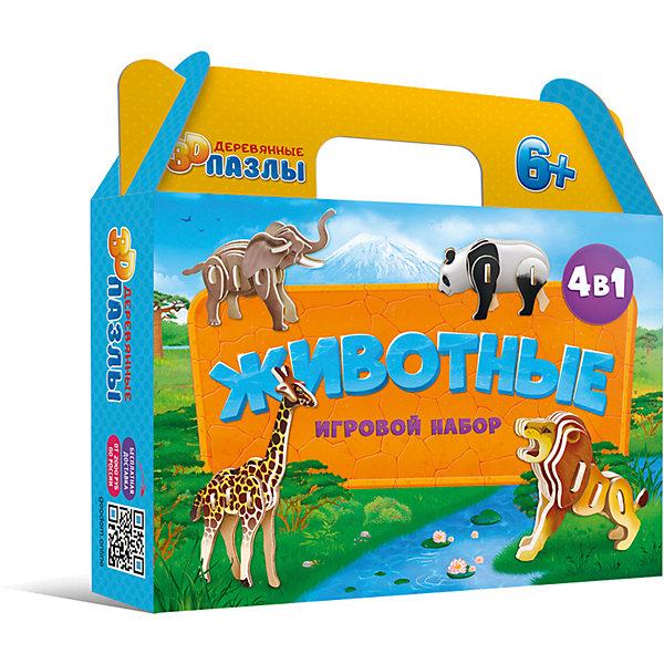 ГеоДом Комплект 3D пазлов 4в1 Геодом Животные