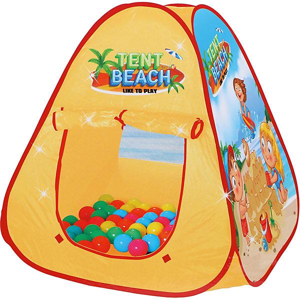 Палатка Наша Игрушка Пляж, 91,5*77*77 смИгровые палатки<br>Характеристики:<br><br>• материал: текстиль, пластик <br>• размер палатки: 91,5х77х77 см<br>• в наборе: палатка, 50 шариков<br>• страна бренда: Россия<br><br>На конусовидной палатке есть яркая картинка с детьми, играющими на пляже. Вход закрывается шторкой-рулоном, предусмотрена прозрачная вставка для наблюдения за малышом. Внутри можно разбросать цветные шарики. Набор компактно складывается. Подходит для установки в помещении и на природе.