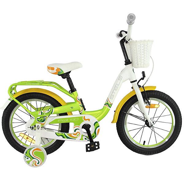 Stels Двухколесный велосипед Pilot-190 18 дюймов, /желтый/белый
