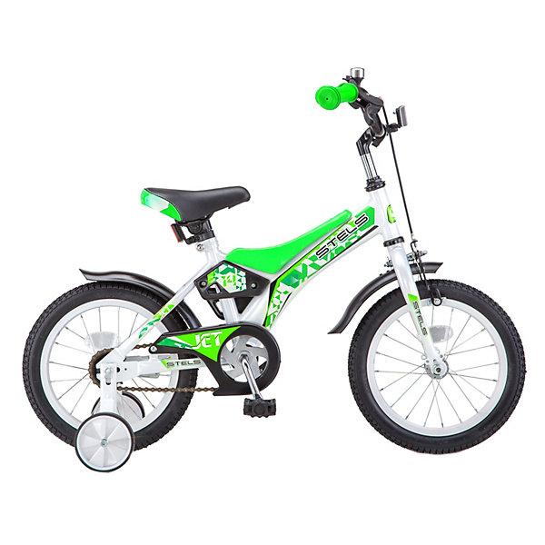 Двухколесный велосипед Stels Jet 14, белый/салатовыйВелосипеды<br>Характеристики:<br><br>• тип товара: велосипед<br>• материал: сталь, алюминий<br>• диаметр колес: 14 дюймов<br>• размер рамы: 8,5 см<br>• количество скоростей: 1<br>• тормоз: ободной (клещевой), ножной<br>• особенности: есть крылья, дополнительные колеса<br>• страна бренда: Россия<br> <br>Стильный велосипед со стальной рамой удобен в использовании. Ребенок легко залезает и слезает с него за счет ее низкого расположения. Сделана защита цепи, чтобы в привод не попала одежда или нога. Выполнен алюминиевый одинарный обод. Модель подойдет для катания по городу, парку или даче.