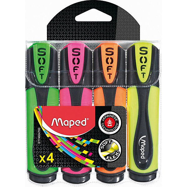 Maped Набор маркеров-текстовыделителей Fluo Peps Ultra Soft, 4 цвета
