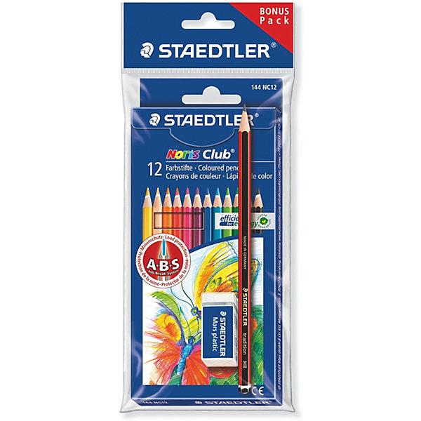 Купить Карандаши цветные с чернографитовым карандашом и ластиком Staedtler Noris Club 144 серии, 12 цветов, Германия, Унисекс