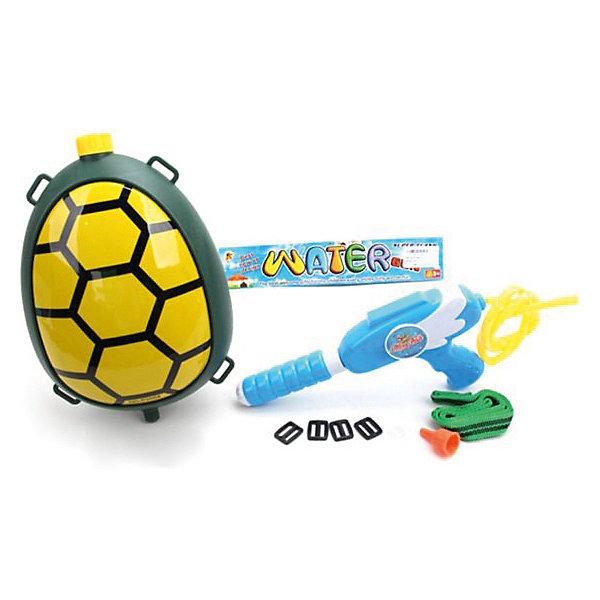 Водяной бластер с рюкзаком Наша игрушка ЧерепашкаИгрушечное оружие<br>Характеристики товара:<br><br>• материал: текстиль, пластик<br>• в комплекте: рюкзак, бластер<br><br>Водяной бластер подойдет для активных игр на свежем воздухе. Вода набирается в специальный рюкзак. Лямки рюкзака регулируются по длине.