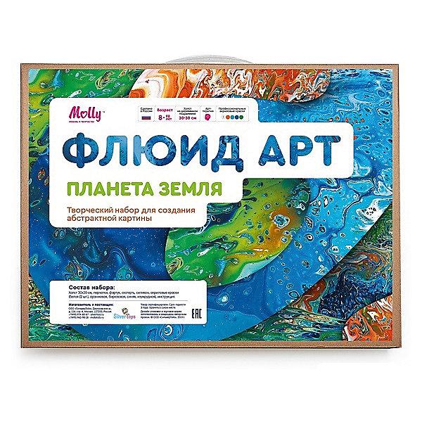 Купить Набор для творчества Molly «Флюид Арт: Планета Земля», арт-терапия, Россия, разноцветный, Унисекс