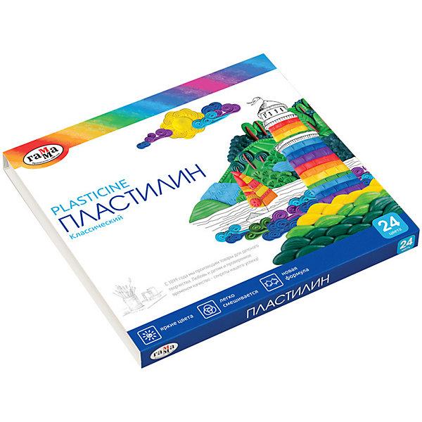 Пластилин Гамма «Классический», 24 цветаПластилин<br>Характеристики:<br><br>• тип товара: набор пластилина <br>• количество цветов: 24<br>• вес бруска: 20 гр<br>• страна бренда: Россия<br> <br>Пластилин создан на химической основе со светостойкими пигментами. Он имеет яркие и насыщенные цвета, которые можно легко смешать между собой. Пластилин не оставляет жирных пятен на одежде и хорошо отстает от рук при работе с ним. Его легко размять, он не рвется, поэтому подходит для создания любых фигур.