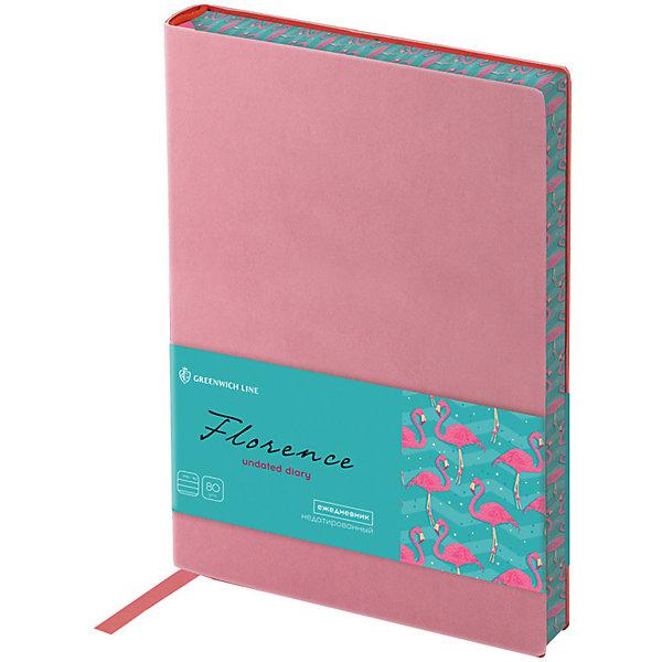Ежедневник недатированный Greenwich Line Florence, В6, розовыйБлокноты и ежедневники<br>Характеристики:<br><br>• тип товара: ежедневник <br>• материал: искусственная кожа, бумага<br>• количество листов: 136<br>• формат: В6<br>• размер: 13х19 см<br>• страна бренда: Англия<br> <br>Ежедневник выполнен с ярким дизайном, который дополнен контрастным срезом и мягкой обложкой. Изделие сделано из качественной офсетной бумаги, листы повышенной плотности тонированы. Печать пантонная в 2 краски. Для удобства пользования закреплена закладка-ляссе.
