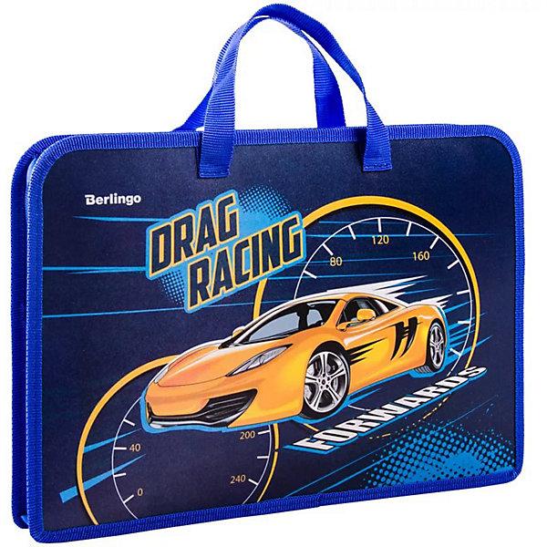 Папка с ручками Berlingo Racing, А4Папки для дополнительных занятий<br>Характеристики:<br><br>• тип товара: папка <br>• материал: пластик, ткань<br>• 1 отделение<br>• застежка: молния<br>• размер: 30,5х23,5х1,7 см<br>• ширина: 4 см<br>• формат: А4<br>• страна бренда: Россия<br> <br>Папка подходит для альбомов, тетрадей и документов. Изделие сделано с ручками из тесьмы для удобства. Благодаря застежке содержимое защищено от влаги. Папка с окантовкой по краям сделана из безопасных материалов. Изделие имеет яркий дизайн.