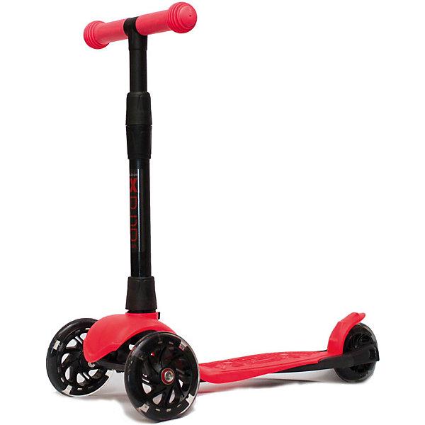 Трехколесный самокат Buggy Boom Alfa Model со светящимися колесами, кораллово-красныйСамокаты<br>Характеристики товара:<br><br>• рост ребенка: 80-120 см<br>• максимальная нагрузка: 25 кг<br>• диаметр передних колес: 120 мм<br>• диаметр заднего колеса: 100 мм<br>• материал колес: ПВХ<br>• подшипник: АВЕС 7<br>• размер платформы для ног: 28х10,5 см<br>• материал деки: пластик<br>• вес самоката: 1,8 кг<br>• особенности: регулируемый руль, ножной тормоз, складной механизм, светящиеся колеса<br><br>Самокат оснащен 2 передними колесами, которые позволяют держать равновесие во время катания. На заднем колесе стоит ножной тормоз фрикционного типа, он отвечает за безопасное катание и не позволит ребенку опрокинуться вперед при торможении. Колеса выполнены из качественного материала ПВХ, отличающегося своей прочностью и износостойкостью. <br><br>Управляется самокат при помощи поворотно-наклонного механизма. Чтобы повернуть, ребенку необходимо отклонить немного самокат в нужную сторону. Руль регулируется под рост пользователя. На ручках руля есть мягкие нескользящие грипсы. Небольшой вес позволит ребенку самостоятельно переносить самокат на улице.