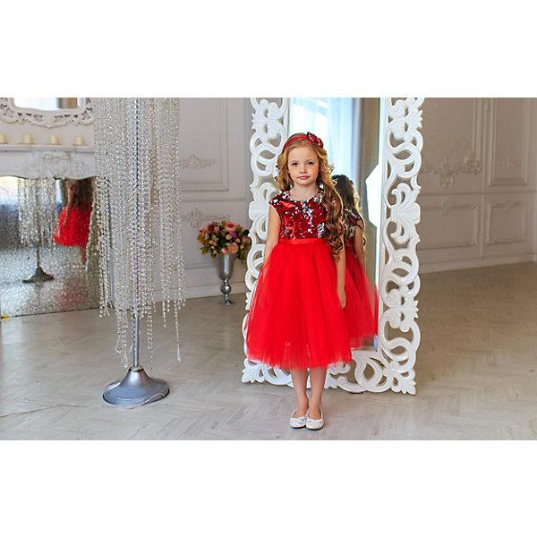 Платье Aliciia для девочкиОдежда<br>К каждому платью диадема в подарок!<br>Характеристики:<br><br>• состав ткани: 50% полиэстер, 50% вискоза<br>• подкладка: искусственный шелк<br>• сезон: круглый год<br>• особенности: нарядная одежда<br>• застежка: молния сзади<br>• без рукавов<br>• пышная юбка<br><br>Нарядное платье с многослойной однотонной юбкой и переливающимся лифом. Модель застегивается на скрытую молнию на спине. Сзади модель украшает бант.