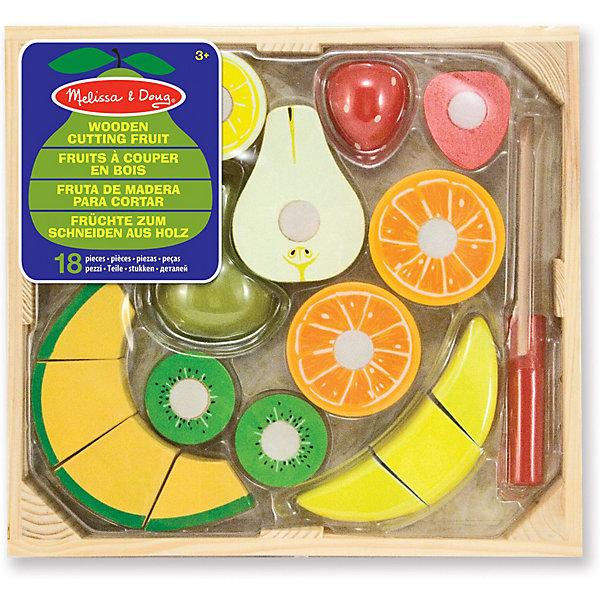 Набор порезанных фруктов Melissa & Doug Готовь и играйИгрушечные продукты питания<br>Характеристики:<br><br>? материал: дерево<br>? в наборе: безопасный «нож», 7 предметов еды на липучках<br>? упаковка: деревянный ящик<br><br>Набор предметов еды подойдет для сюжетно-ролевых игр. Предложенные ингредиенты легко «режутся» безопасным ножом на 17 частей благодаря встроенным липучкам. В комплекте есть следующие продукты: лимон, апельсин, клубника, банан, киви, груша, кусок дыни.