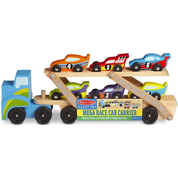 Погрузчик Melissa & Doug Классические игрушкиГородские спецслужбы<br>Характеристики:<br><br>? материал: дерево<br>? в наборе: автопогрузчик (кузов, двухуровневый прицеп); 6 гоночных машин<br>? размер автопогрузчика: 19*46*9 см<br><br>Прицеп просто присоединяется и отсоединяется от кузова, каждый из них имеет по 4 колеса, а потому ребенку будет легко ими маневрировать. Трейлер состоит из 2 уровней, верхний этаж опускается и разноцветные гоночные болиды с номерами от 1 до 6 могут съезжать с него, как с рампы. Деревянные уголки и края тщательно отшлифованы и безопасны, все детали аккуратно раскрашены.