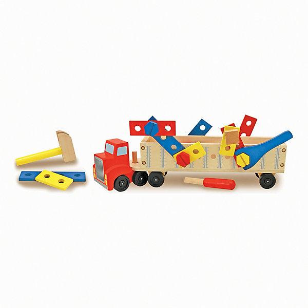 Конструктор в прицепе Melissa & Doug Классические игрушкиДеревянные конструкторы<br>Характеристики:<br><br>? материал: дерево<br>? в наборе: грузовик, трейлер, 22 строительных элемента<br><br>Прицеп можно просто присоединить и отсоединить от кузова, каждый из них имеет по 4 колеса, а потому ребенку будет легко ими маневрировать. Трейлер является одновременно движущейся строительной площадкой: в его стенках просверлены отверстия для игрушечных гаек, гвоздей и болтов из набора. В том числе в комплекте есть молоток, отвертка, гаечный ключ и дощечки. Деревянные уголки и края тщательно отшлифованы, аккуратно раскрашены и безопасны.