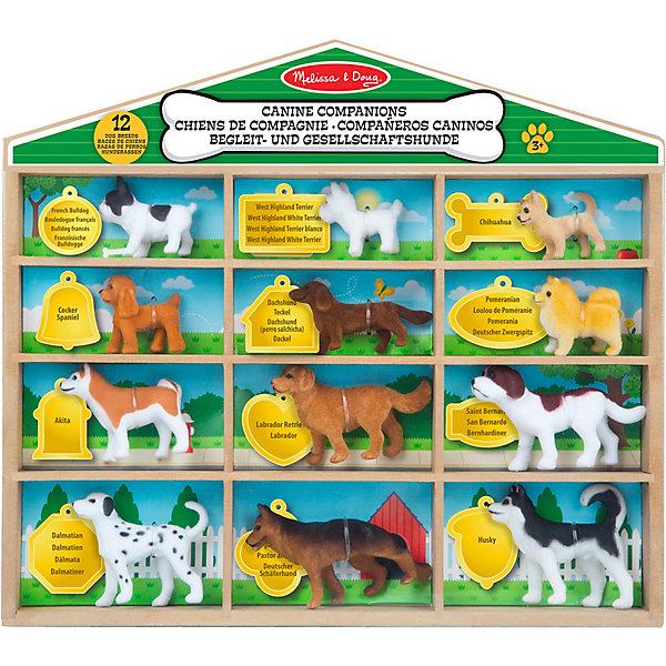 Набор собак Melissa & Doug Классические игрушкиИгровые фигурки животных<br>Характеристики:<br><br>? материал: пластмасса<br>? в наборе: 10 фигур, информационный вкладыш о породах<br>? упаковка: деревянный стенд<br><br>В набор входят следующие виды собак: французский бульдог, чихуахуа, кокер-спаниель, вест-хайленд-уайт-терьер, такса, померанский шпиц, акита-ину, Лабрадор-ретривер, сенбернар, далматин, хаски, немецкая овчарка. Стенд содержит ячейки с наименованиями пород собак на английском языке. Каждая фигурка имеет войлочное покрытие с детальным узором.