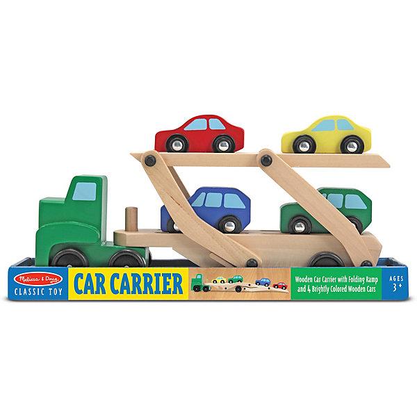 Машинка для перевозки автомобилей Melissa & DougНаборы с машинками<br>Характеристики:<br><br>? материал: дерево<br>? в наборе: автопогрузчик (кузов, двухуровневый прицеп); 4 машины<br><br>Прицеп просто присоединяется и отсоединяется от кузова, благодаря крепкой колесной базе ребенку будет легко ими маневрировать. Трейлер состоит из 2 уровней, верхний этаж опускается и разноцветные машины могут съезжать с него, как с рампы. Деревянные уголки и края тщательно отшлифованы и безопасны, все детали аккуратно раскрашены.