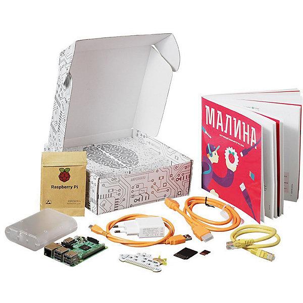 Набор Амперка «Малина»Робототехника и электроника<br>Характеристики:<br><br>• тип товара: набор для экспериментов<br>• комплектация: одноплатный компьютер Raspberry Pi 3 Model B+, microSD-карта с операционной системой Raspbian Linux, плата GPIO Cloud, буклет «Малина. Обучающий компьютер на Linux», корпус, блок питания с USB-выходом, кабель USB (A — Micro USB), кабель HDMI, патч-корд витой пары<br>• страна бренда: Россия<br> <br>Набор представляет из себя мини-компьютер, который состоит из привычных элементов, таких как процессор, оперативная память и другие. В комплекте есть понятная книга, где подробно описаны все процессы. Благодаря этому набору, можно провести 18 экспериментов. Каждый из них дополнен иллюстрациями, скриншотами и кодами программ.