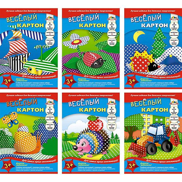 Комплект цветного картона Апплика А4, 6 видовЦветная бумага и картон<br>Характеристики:<br><br>• материал: мелованный картон<br>• в комплекте: 6 наборов по 6 листов<br>• формат: А4<br>• упаковка: папка<br>• страна бренда: Россия<br><br>Цветной картон может стать незаменимым помощником для творчества. Особенностью листов из двустороннего мелованного картона является то, что с одной стороны они окрашены в разные цвета: зеленый, фиолетовый, черный, красный, оранжевый, синий, а с другой стороны располагается рисунок: горошек, звездочки, полоски, ромашки, ромбики, цветочки.