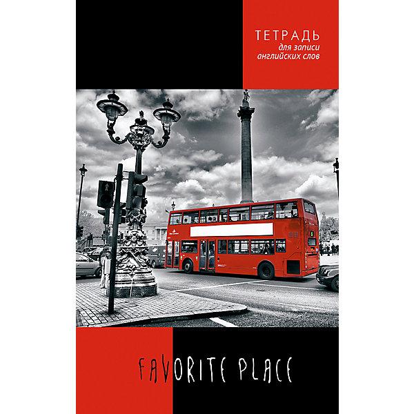 АппликА Тетрадь для записи английских слов Апплика Красный автобус А5, 96 листов