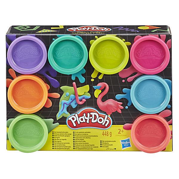 Фото - Hasbro Набор пластилина Play-Doh Неон, 8 цветов коробка рыжий кот 33х20х13см 8 5л д хранения обуви пластик с крышкой