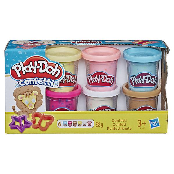 Hasbro Набор пластилина Play-Doh Конфетти, 6 банок набор пластилина с формочками креативный пластилин
