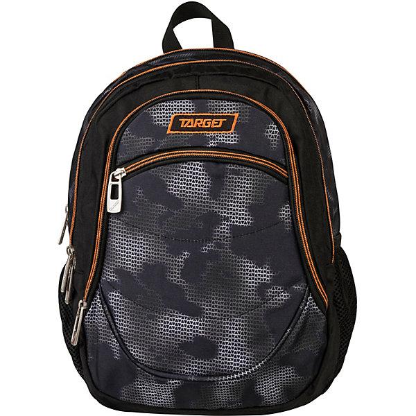 Рюкзак Target Collection Mimetic, черныйРюкзаки<br>Характеристики:<br><br>• тип товара: рюкзак<br>• материал: текстиль, металл<br>• размер: 38х28х16 см<br>• объем: 18 л<br>• 3 отделения на молнии, 1 внешний карман, 2 боковых кармана на резинке<br>• страна бренда: Словения<br> <br>Рюкзак выполнен с ярким дизайном и рисунком. Его можно носить на плечах. Лямки регулируются по росту. Удобное изделие сделано из качественных материалов, прочных и современных. Для дополнительной безопасности на лямки нанесены светоотражающие элементы.