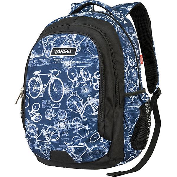 Рюкзак Target Collection Bycicle,синийСумки и рюкзаки<br>Характеристики:<br><br>• тип товара: рюкзак<br>• материал: текстиль, металл<br>• размер: 44х32х18 см<br>• объем: 26 л<br>• 3 больших отделения на молнии, 1 накладной карман на молнии, 2 боковых кармана на резинке<br>• регулировка лямок<br>• страна бренда: Словения<br> <br>Рюкзак сделан с ярким дизайном. На нем сделаны светоотражающие элементы, чтобы ребенка было видно в темное время суток. Сверху изделия закреплена тканевая ручка. Его можно носить как за нее, так и на плечах. Удобная ортопедическая спинка позволит ребенку чувствовать себя комфортно даже при длительном ношении рюкзака.