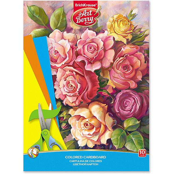 Купить Цветной картон мелованный в папке ArtBerry «Розы», А4, 10 листов, 10 цветов, Erich Krause, Россия, разноцветный, Унисекс