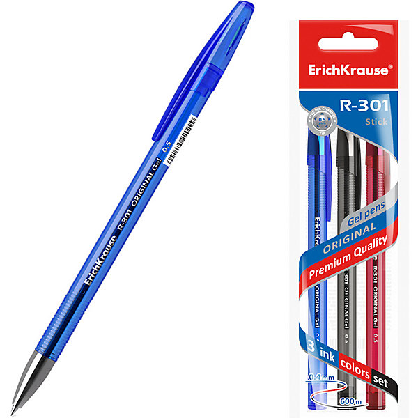 Erich Krause Ручка гелевая Erich Krause R-301 Original Gel 0.5, цвет чернил: синий, черный, красный цена 2017