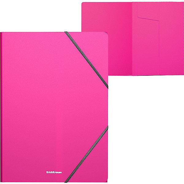 Папка на резинках пластиковая  ErichKrause Neon, A4, розовыйПапки пластиковые<br>Характеристики:<br><br>• тип товара: папка<br>• материал: пластик<br>• формат: А4<br>• толщина обложки: 0,4 мм<br>• размер: 24,6х,32х0,5 см<br>• вместительность: 300 листов<br>• страна бренда: Россия<br> <br><br>Папка используется для хранения бумаг и документов. Она имеет удобные резинки для фиксации. Текстура пластика типа «песок» позволяет сделать незаметными отпечатки пальцев и царапины. Вместительное изделие выполнено из безопасных и качественных материалов.