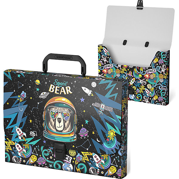 Купить Портфель пластиковый ErichKrause® Space Bear, A4 (в пакете по 1шт.), Erich Krause, Россия, разноцветный, Унисекс