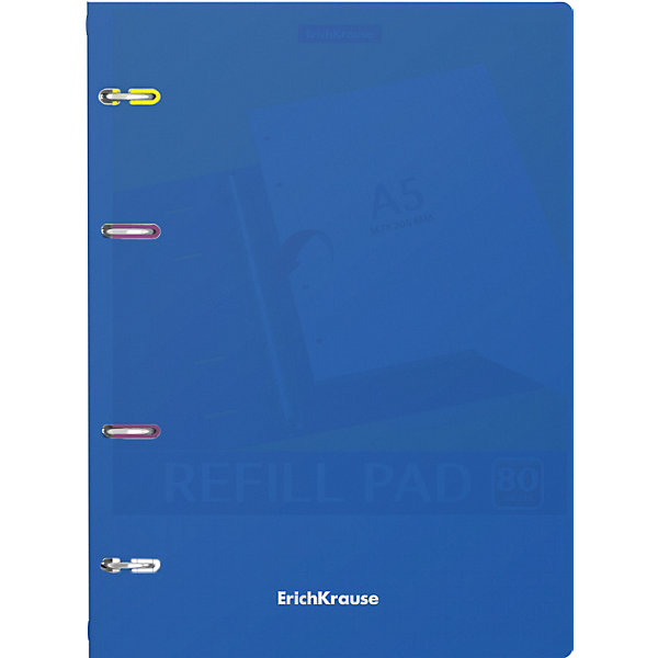 Купить Тетрадь общая с пластиковой обложкой на кольцах ErichKrause® Classic, синий, А5, 80 листов, клетка, Erich Krause, Россия, разноцветный, Унисекс