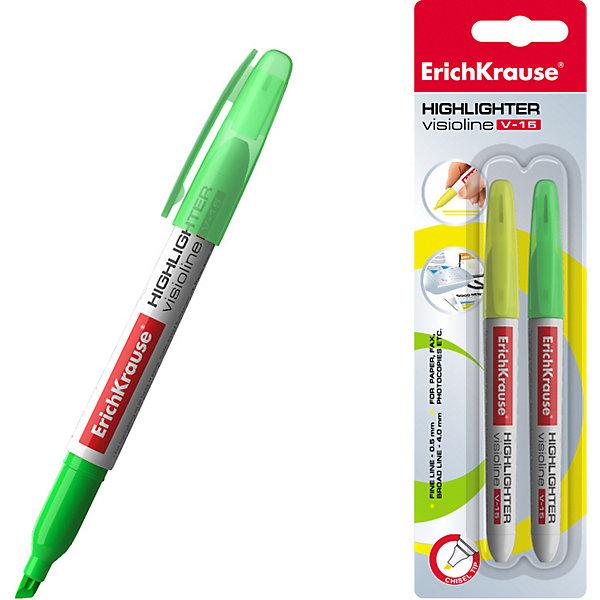 Текстмаркер ErichKrause Visioline V-15, цвет чернил: желтый, зеленыйМаркеры<br>Характеристики:<br><br>• тип товара: текстмаркер<br>• ширина пишущего узла: 0,4-0,6 мм<br>• срок годности: 5 лет <br>• страна бренда: Россия<br> <br><br>Маркер для выделения текста может оставлять тонкий и толстый след за счет разной ширины скошенного пишущего узла. Он подойдет для работы на любом типе бумаги. Модель помещена в круглый корпус с колпачком в цвет чернил. Текстмаркер сделан на водной основе с флуоресцентными чернилами, что позволяет ему быстро высыхать и не пропитывать обратную сторону листа.