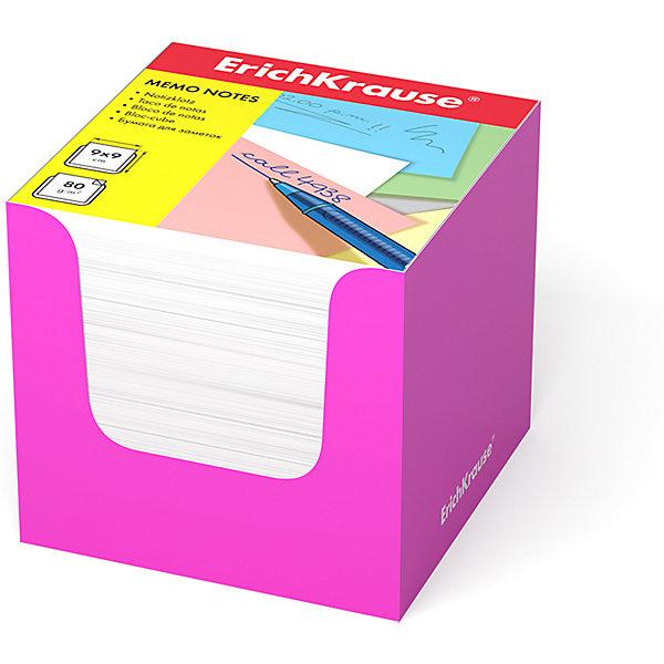 Erich Krause Бумага для заметок Erich Krause, 90x90x90 мм, , в розовой картонной подставке