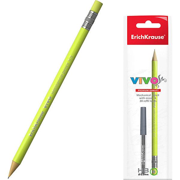 Карандаш механический ErichKrause Vivo, 0.5 мм, НВКарандаши<br>Характеристики:<br><br>• тип товара: карандаш<br>• твердость: HB<br>• диаметр грифеля: 0,5 мм<br>• страна бренда: Россия<br> <br><br>Простой карандаш работает механически. Он сделан в ярком дизайне, есть ластик на конце. В наборе с карандашом предложены 20 грифелей, которые можно заменить.