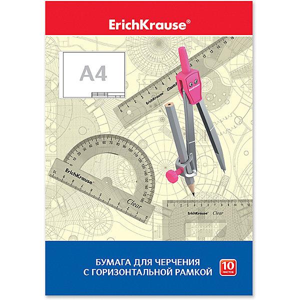 Erich Krause Бумага для черчения Krause, А4, 10 листов, горизонтальная рамка