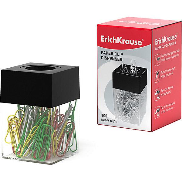 Купить Диспенсер для скрепок магнитный ErichKrause®, в наборе 100 цветных скрепок (в коробке по 1 шт.), Erich Krause, Китай, черный, Унисекс