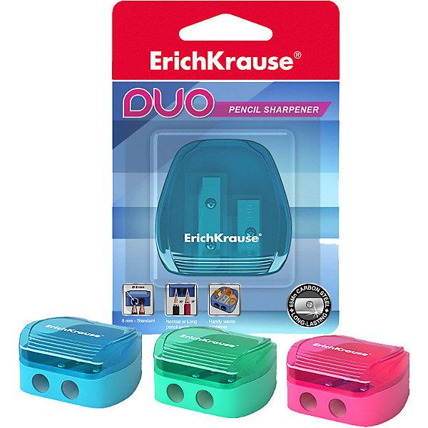Купить Пластиковая точилка Erich Krause Duo, два отверстия, с контейнером, Китай, разноцветный, Унисекс