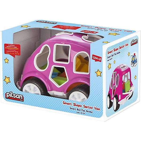 цена на Pilsan Машинка с кубиками Pilsan Smart Shape Sorter Car, розовая