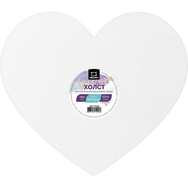 Купить Холст на картоне Малевичъ в форме сердца, 30х26, 25 см, Китай, Унисекс