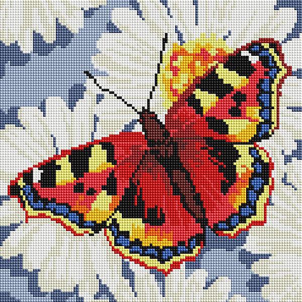 Белоснежка Алмазная мозаика Бабочка на ромашках, 30х30 см