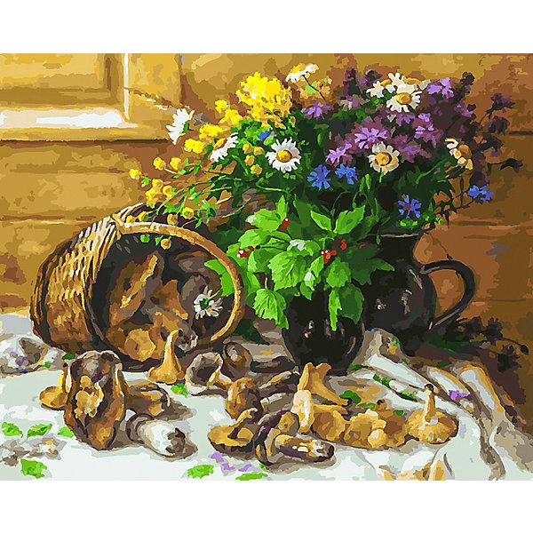 Белоснежка Картина по номерам Букет и грибы, 40х50 см